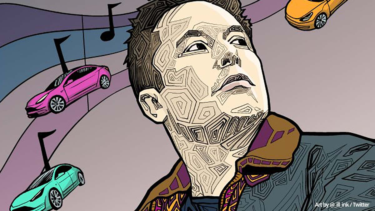 Illustration of Elon Musk and Tesla electric cars. Art by @_ill_ink / Twitter.