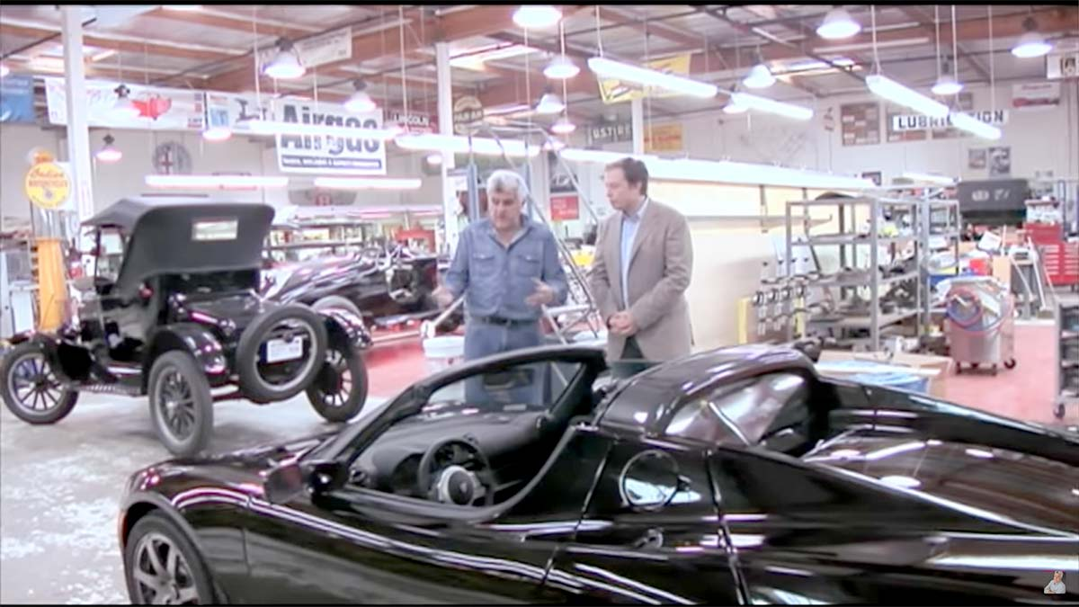 Elon Musk presenting the original Tesla Roadster at the Jay Leno's Garage show from 2008.