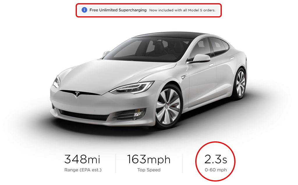 Tesla Model S online configurator showing 2.3s / 0-60 mph for the Tesla Model S Performance (Raven).