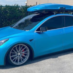 First custom wrapped Tesla Model Y in smurf blue.