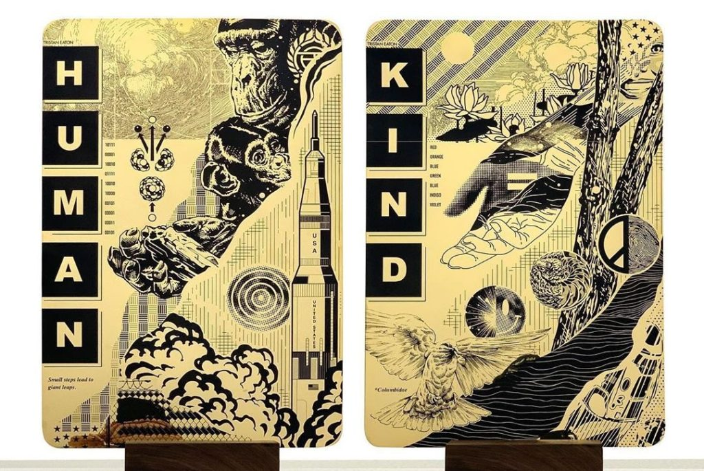 'Human Kind' paintings by Tristan Eaton onboard the Demo-2 Crew Dragon.