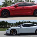 Tesla Model S Performance (Raven) vs. Porsche Taycan Turbo S drag racing.