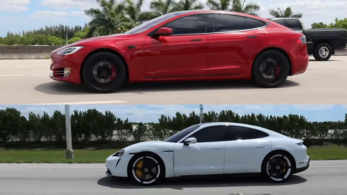 Tesla Model S Performance (Raven) vs. Porsche Taycan Turbo S drag racing.