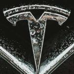 Tesla Inc. (TSLA) logo closeup.