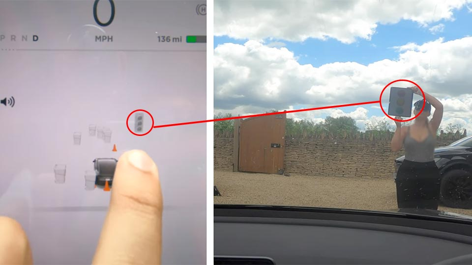Tesla Autopilot successfully detected traffic lights when shown on a large tablet computer in front of a Tesla vehicle.