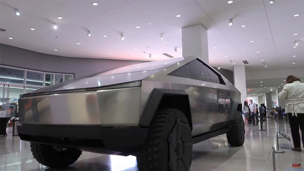 Tesla Cybertruck at the Petersen Auto Museum in Los Angeles, California.
