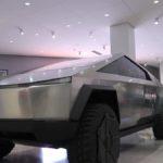Tesla Cybertruck at the Petersen Auto Museum in Los Angeles, California.