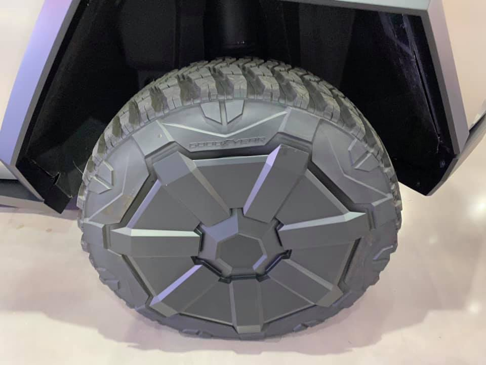 Tesla Cybertruck's special GoodYear tire and wheel (photos from the Petersen Automotive Museum).
