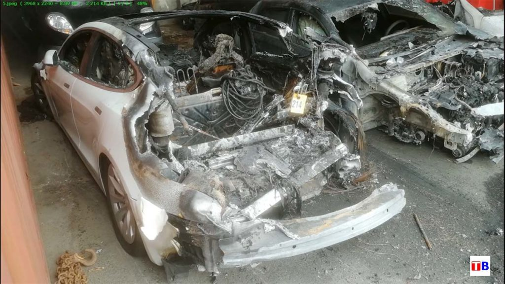 A Tesla Model S burned but the battery pack did not flare up.