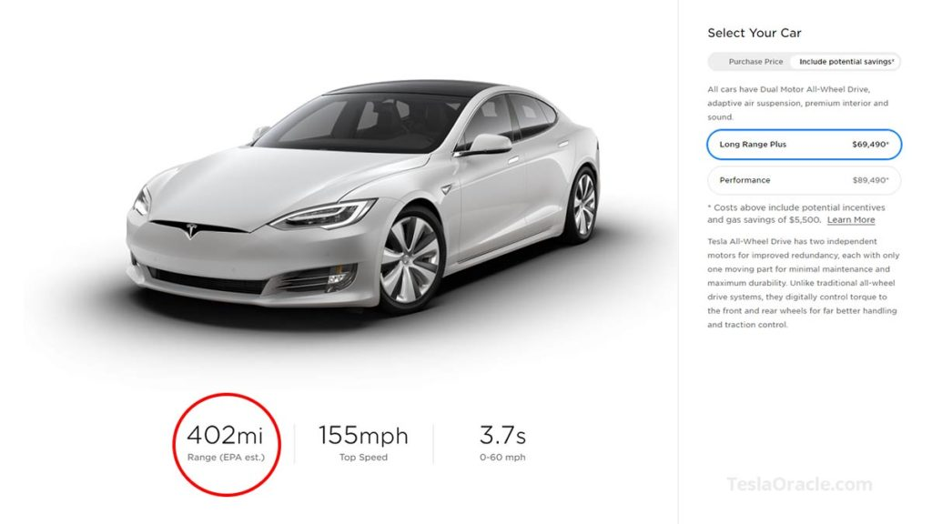 Tesla Model S Long Range Plus range now estimated at 402 miles EPA.