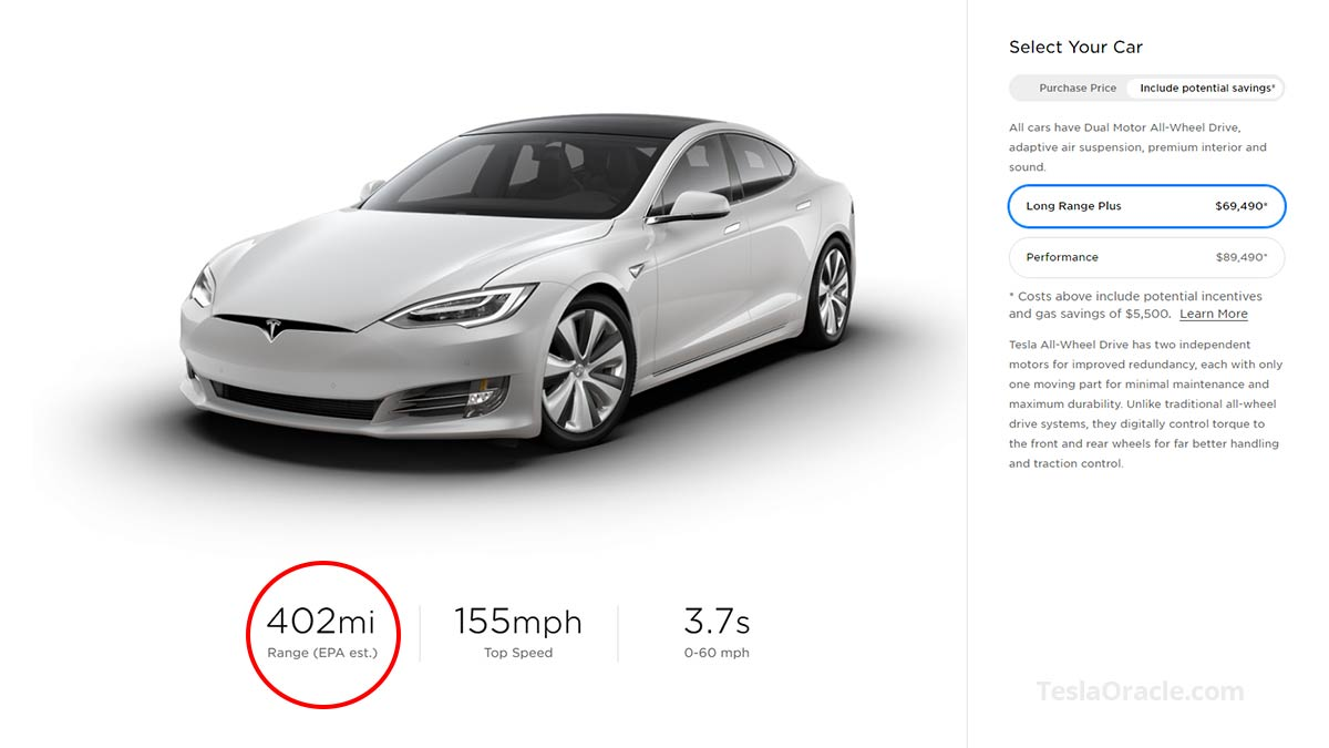 Tesla Model S Long Range Plus range now estimated at 402 miles EPA.