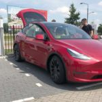 Red Tesla Model Y spotted in the Netherlands.