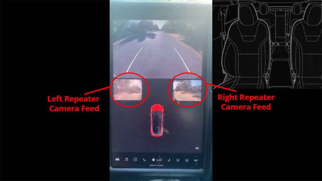 Tesla update 2020.20.6 adds side repeater camera feeds while backing up a Tesla car.