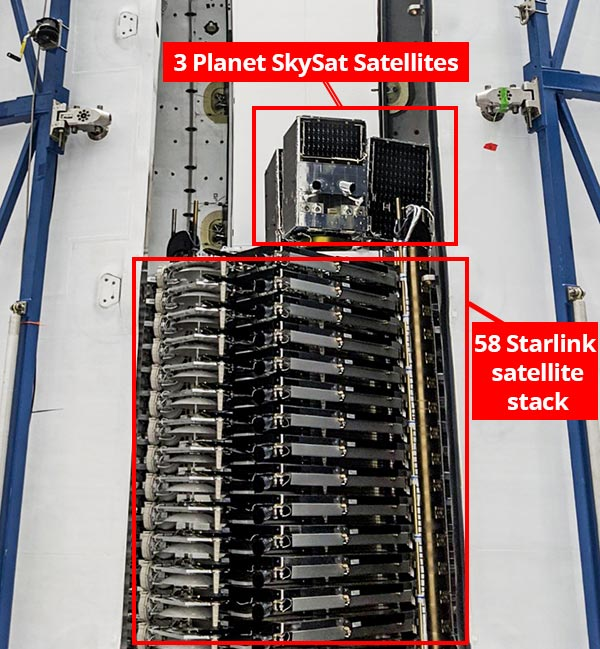 Stack of 58 SpaceX Starlink satellites, 3 Planet SkySats sitting atop the Starlink stack.