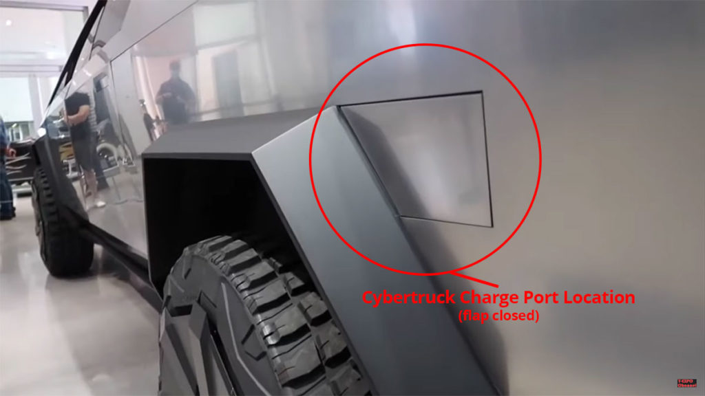 Tesla Cybertruck charge port location (flap closed).