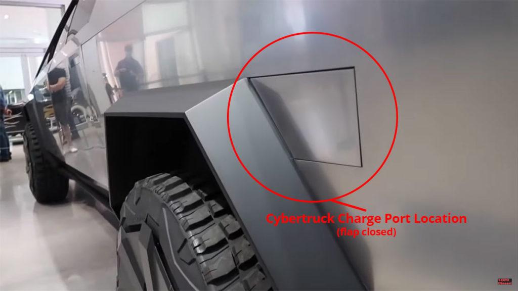 Tesla Cybertruck charge port location (flap closed).