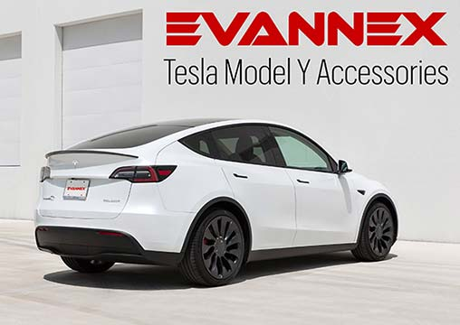 Tesla Model Y Accessories by EVANNEX (Sponsored Banner).