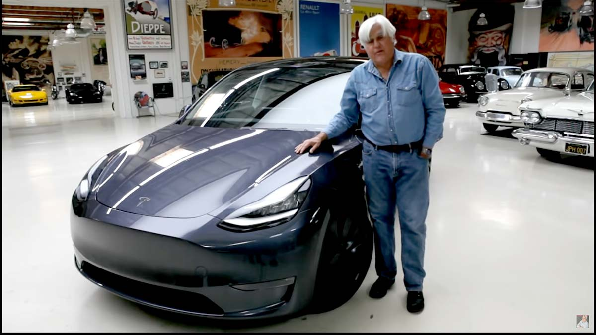 Jay Leno reviews the Tesla Model Y compact electric SUV.