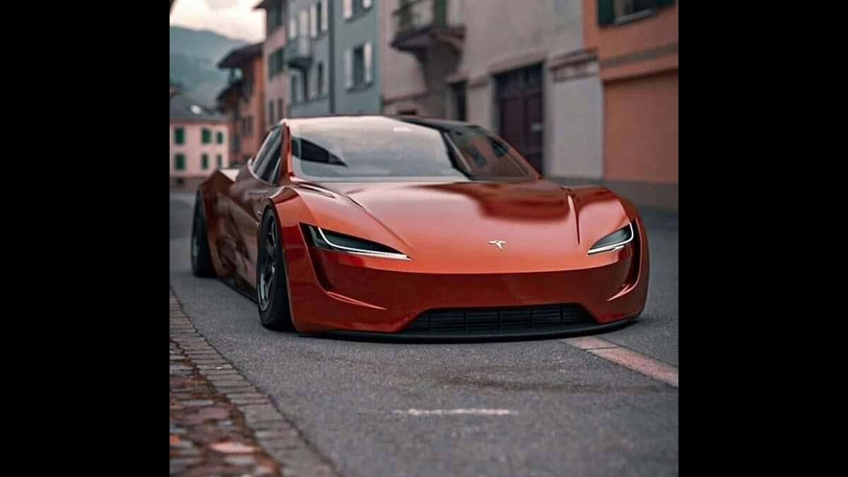 Next-gen Tesla Roadster in rusty red color.