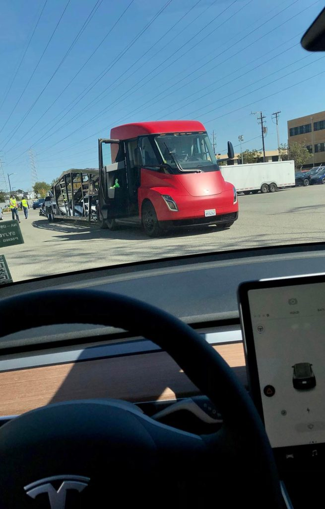 Tesla Semi Truck delivering cars in the Bay Area.