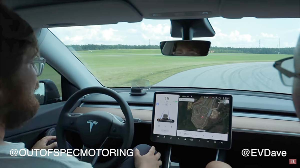 Testing Autopilot on a race track in a Tesla Model Y.
