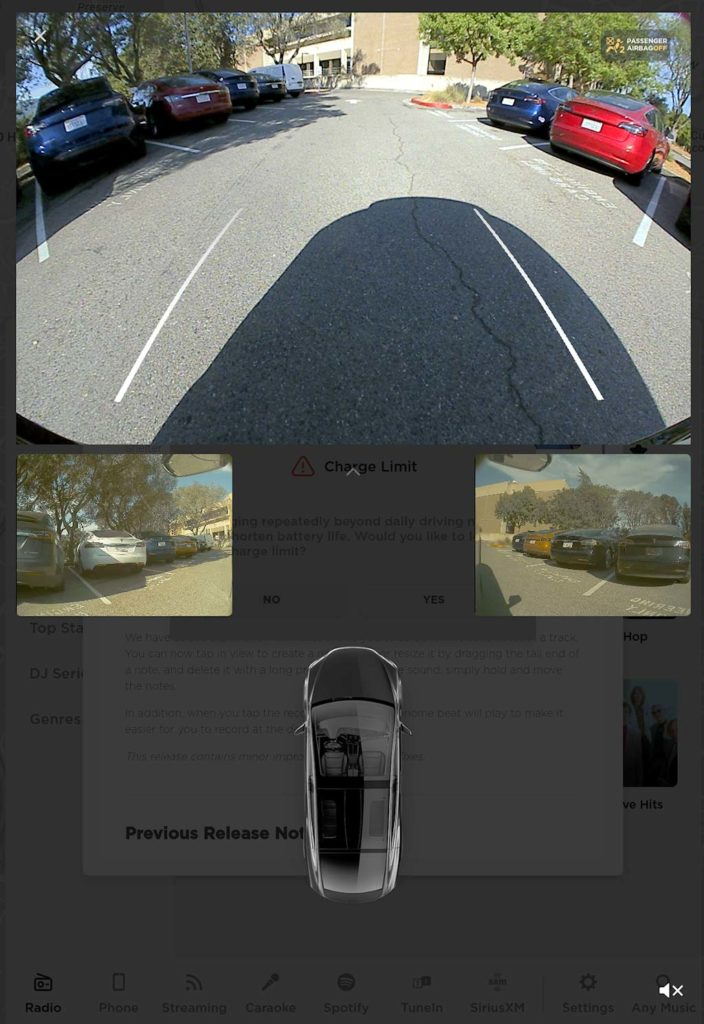 Screenshot: Tesla video stream feeds from side repeater cameras after firmware update 2020.24.6.