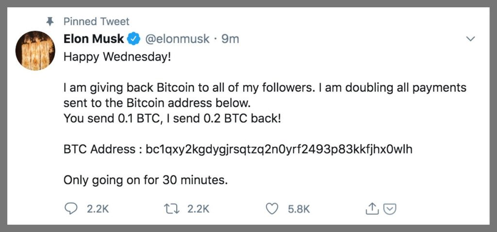 Scam message from Elon Musk's official account after getting hacked.
