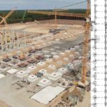New columns and footings constructed at the Gigafactory Berlin on July 04, 2020.