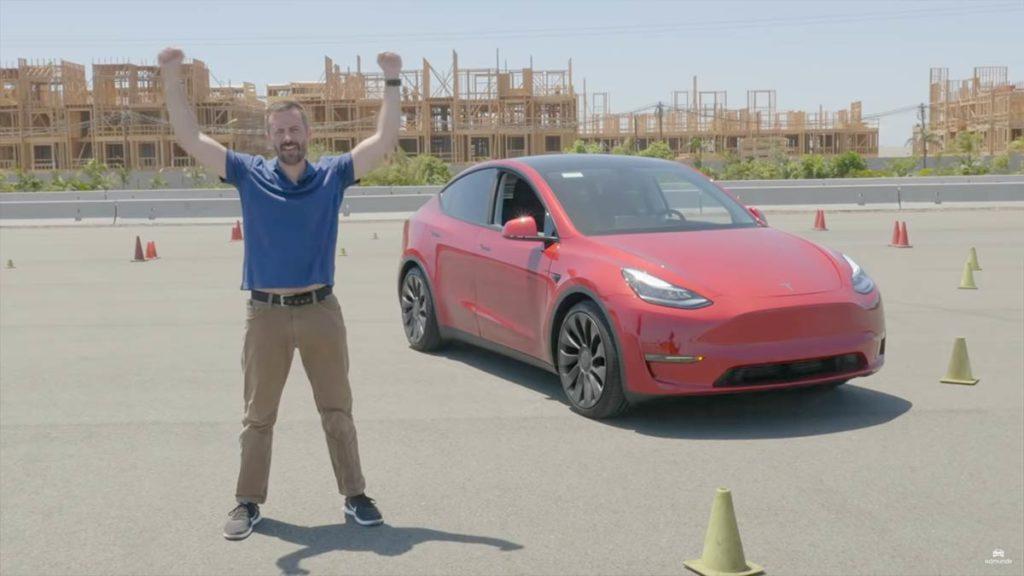 Tesla Model Y race track review by Edmunds.