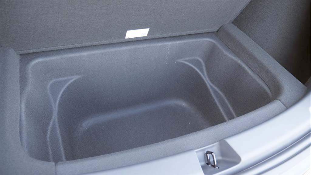 Tesla Model Y under trunk extra deep storage space.
