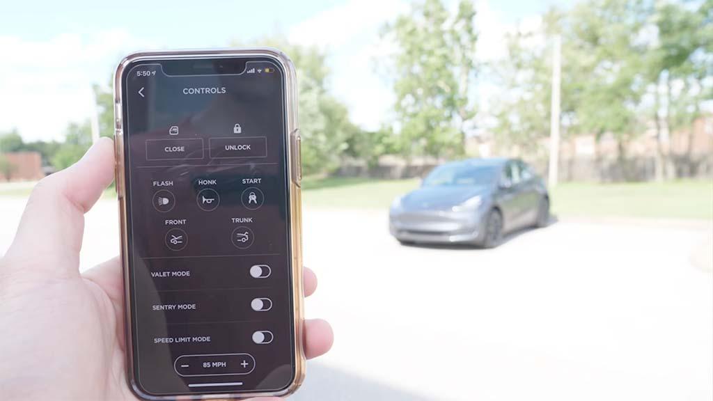 Tesla Mobile App Interface.