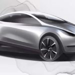 Tesla compact hatchback concept art released by Tesla with Chinese Design Center jobs.