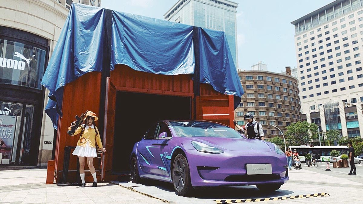 Game of Peace (Chinese PUBG) skin Tesla Model 3 in Awesome Purple color.