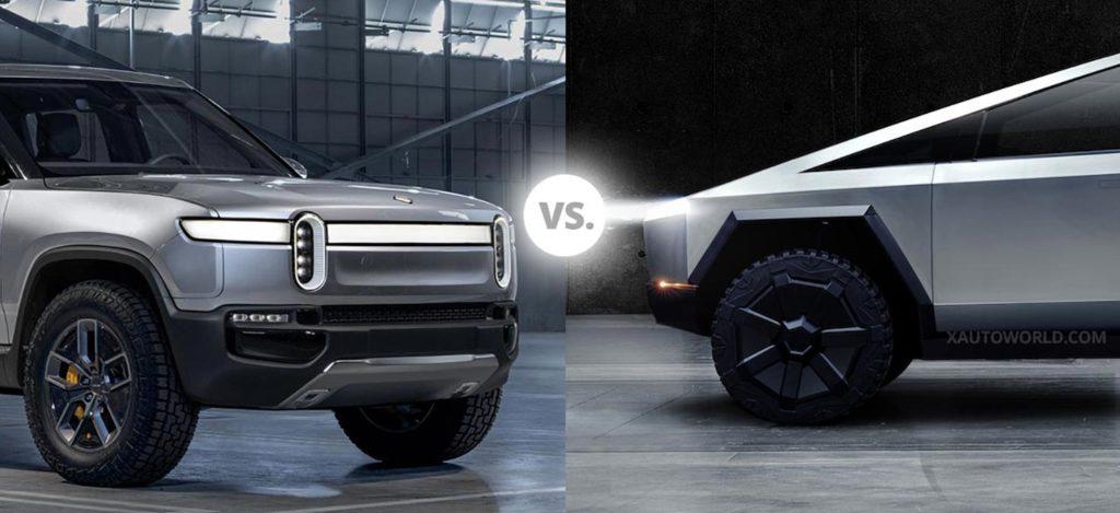 Rivian R1T electric pickup truck vs. Tesla Cybertruck.