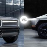 Rivian R1T electric pickup truck vs. Tesla Cybertruck.