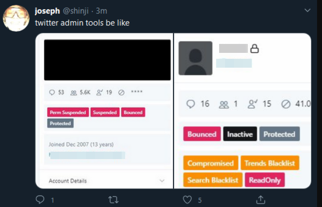 Screenshot of Twitter Admin Tools shared by the Twitter account @shinji who appears to be one of the hackers.