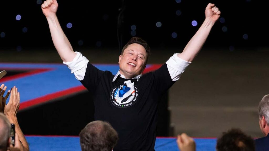 Elon Musk in extreme joy after successful launch of Crew Dragon Demo-2 NASA/Spacex mission.