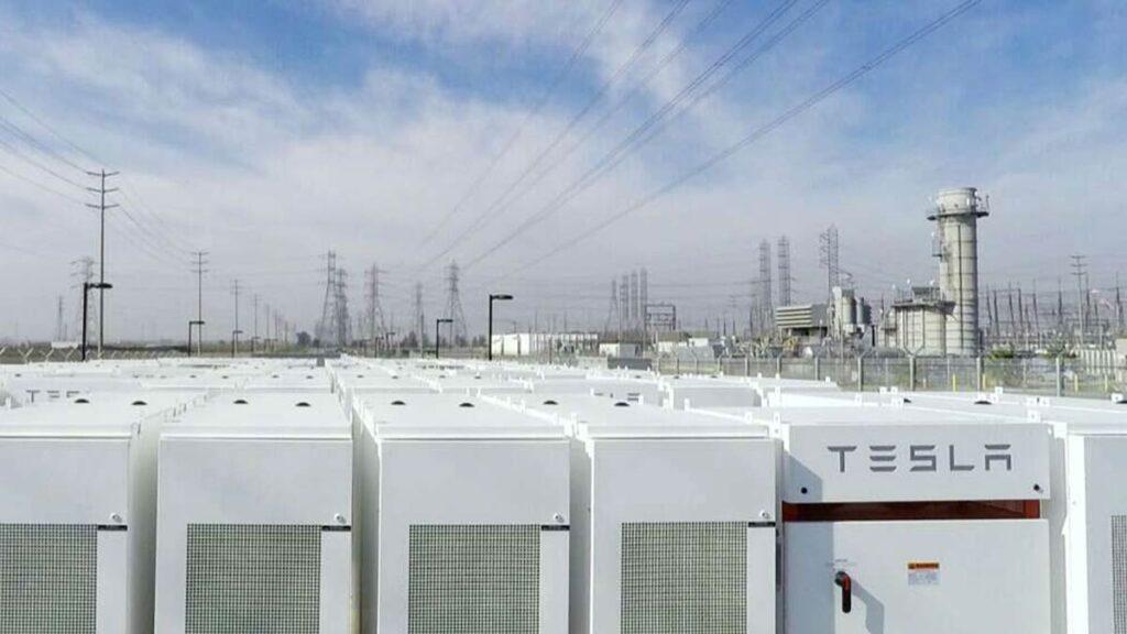 Tesla utility scale energy storage system (Tesla Megapack) for the grid.