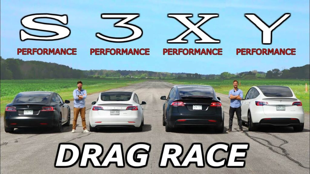 Entire Tesla S3XY lineup goes to the dragstrip against each other (video).
