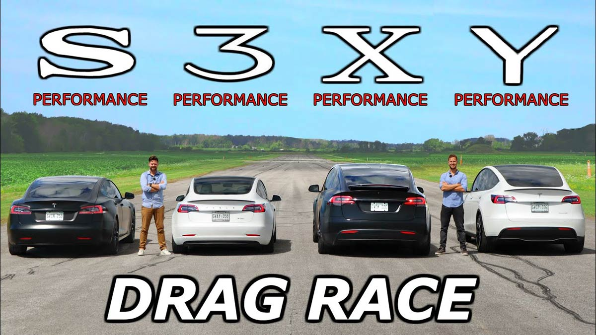 Watch the ultimate Tesla drag race between the entire S,3,X,Y lineup