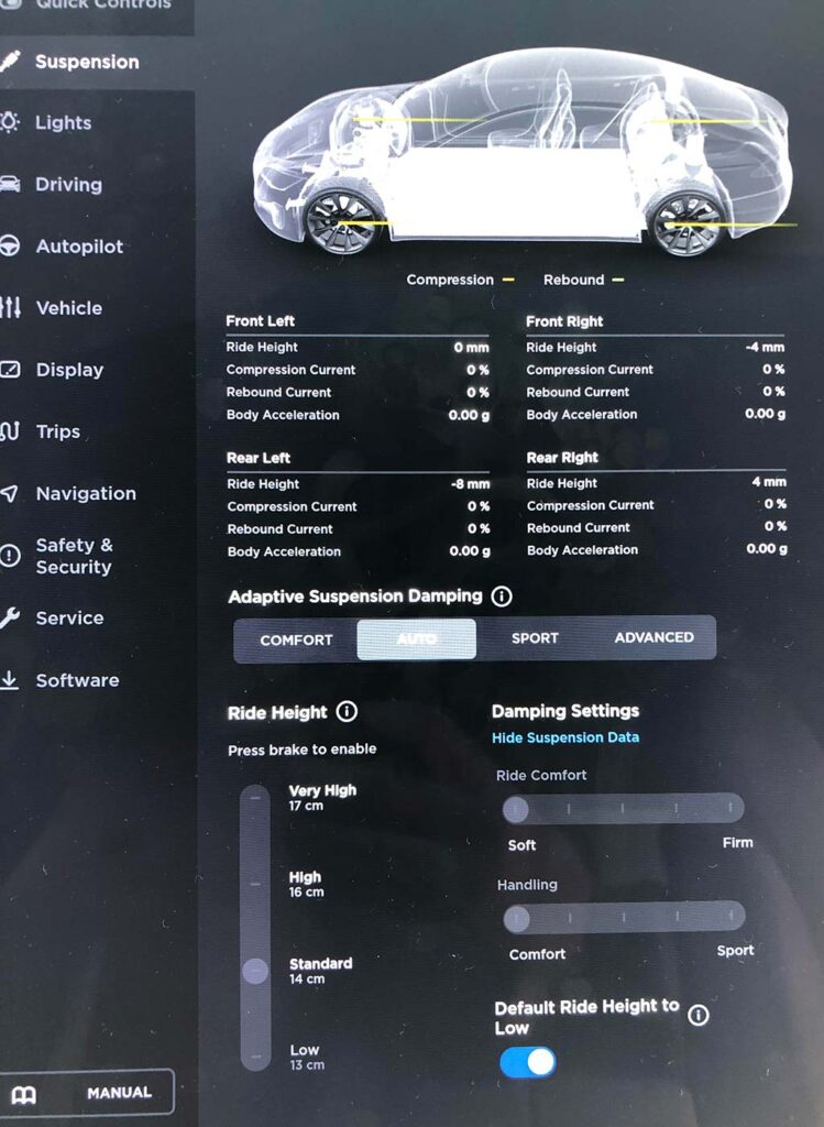 Tesla Advanced Suspension settings interface on the Model S and Model X center touchscreen.