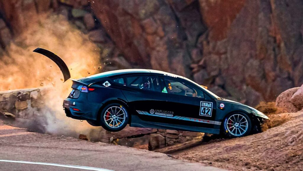 Tuned Unpulgged Performance Tesla Model 3 crashes at Pikes Peak race track.