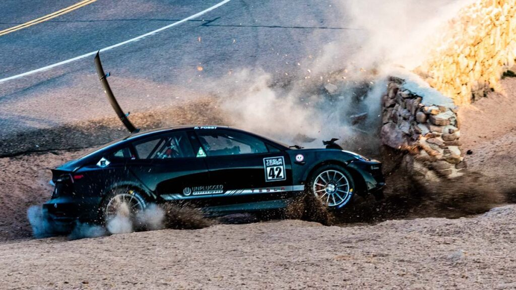 Tuned Unpulgged Performance Tesla Model 3 crashes at Pikes Peak race track (Devil's Playground).