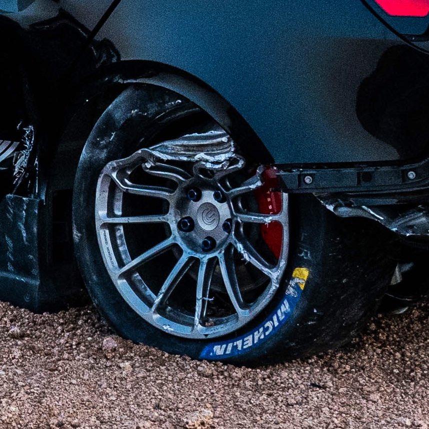 Wheel of the crashed Unplugged Performance Tesla Model 3.