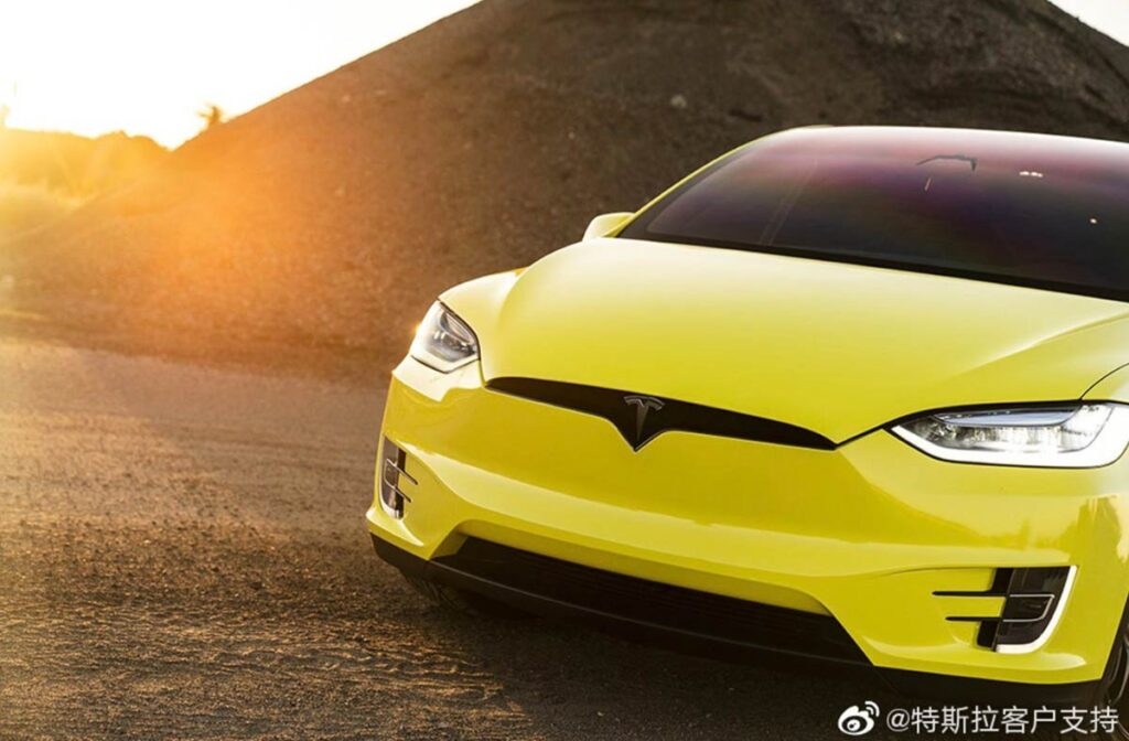 Yellow wrapped Tesla Model X posted by Tesla China on Weibo after starting the official Tesla wrap service (front closeup).