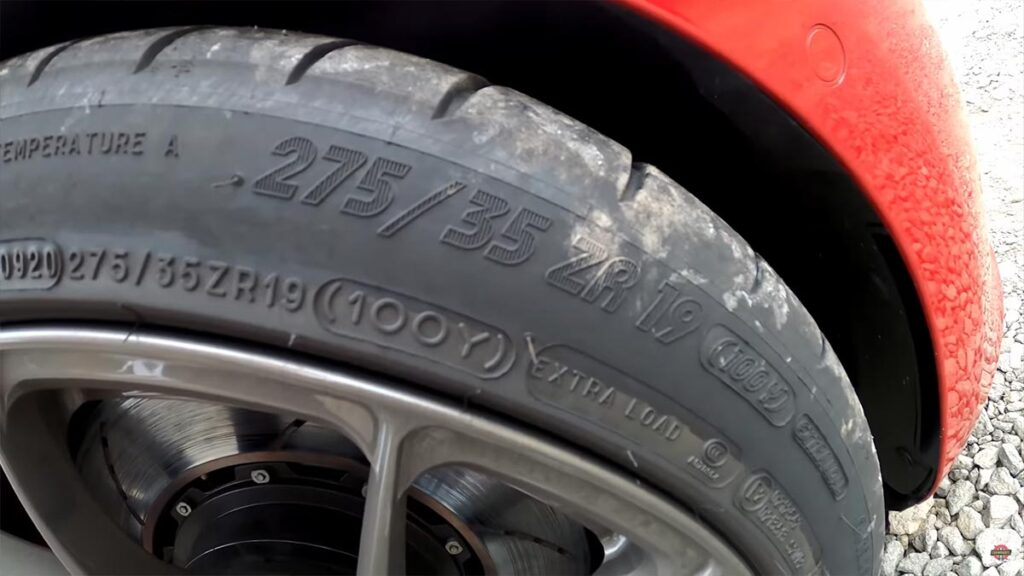 """Tesla Model 3 Performance 19"""" tires used at the Nürburgring lap (Michelin 275/35/ZR19)."""