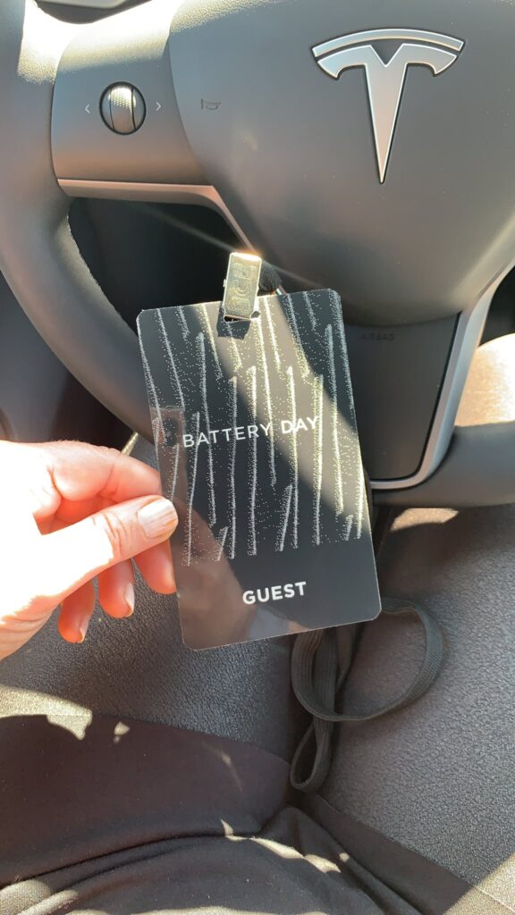 Guest entry card to the Tesla Battery Day 2020 event.