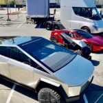 Tesla Cybertruck, ATV, Roadster, and Tesla Semi at the Battery Day event.