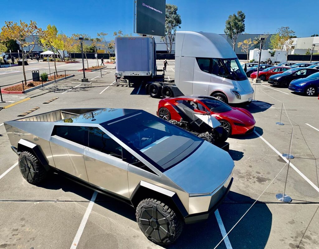 Tesla Cybertruck, Electric ATV, Tesla Roadster,  and Tesla Semi at the Battery Day event.