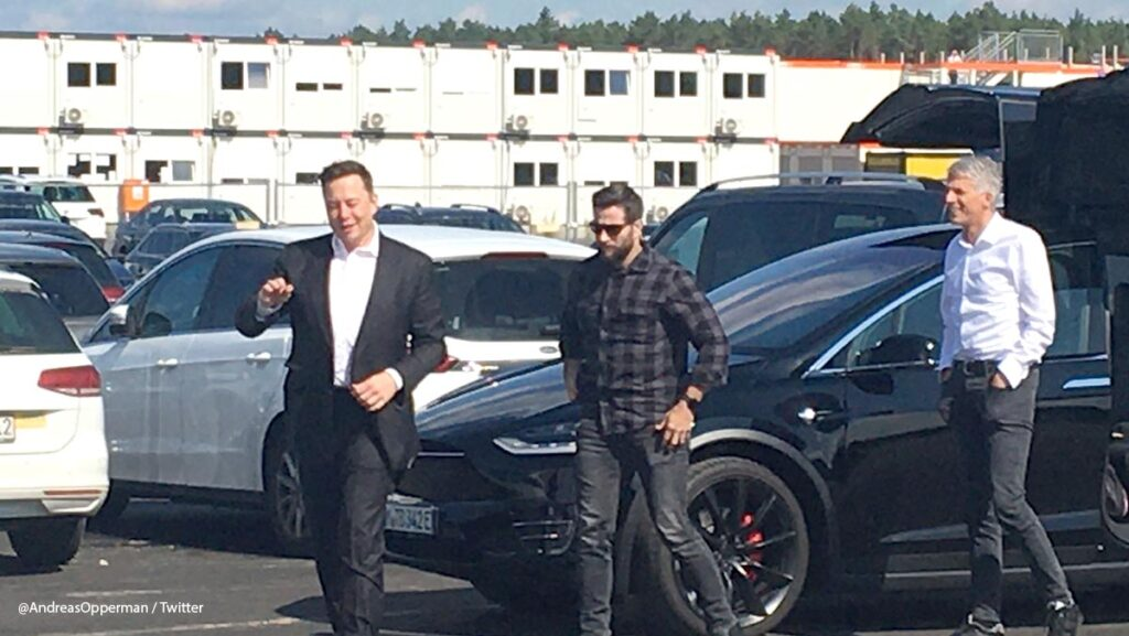 Tesla CEO Elon Musk arriving at the Tesla Gigafactory Berlin, Brandenburg, Germany.